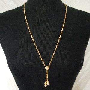 Jones New York Long Gold Tone Pearl Necklace